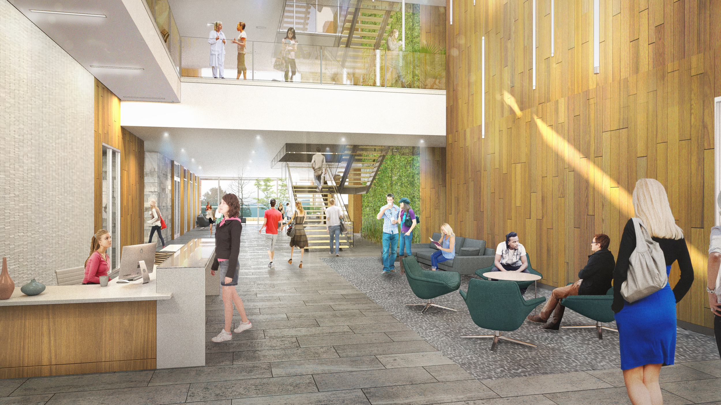 Student Health and Wellness Lobby Rendering