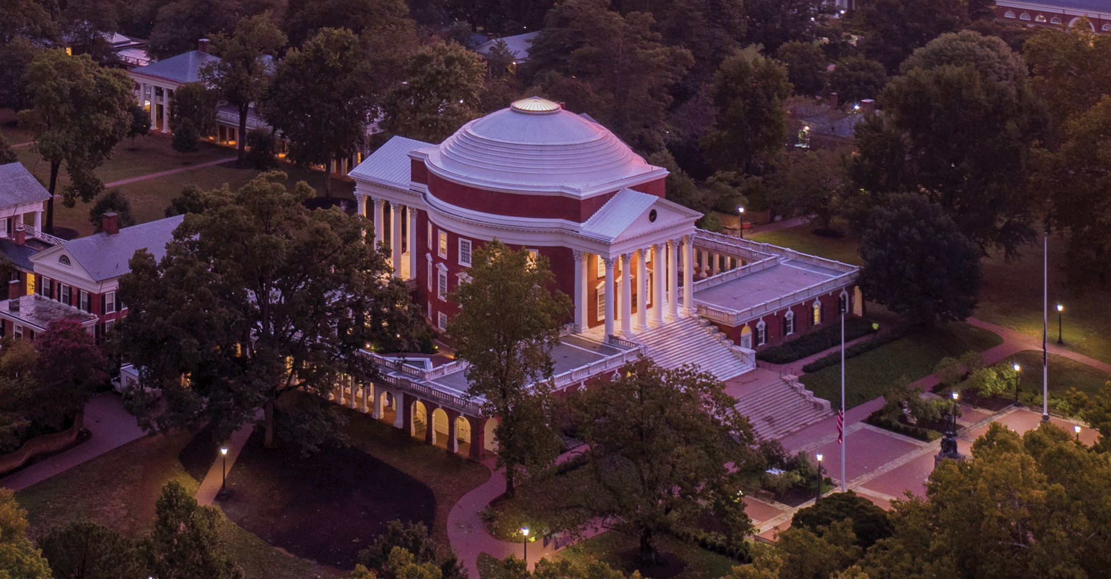 Aerial of the Rotunda Sunset